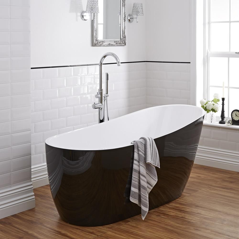 "Modern Black Freestanding Single Ended Bath Tub 70"""