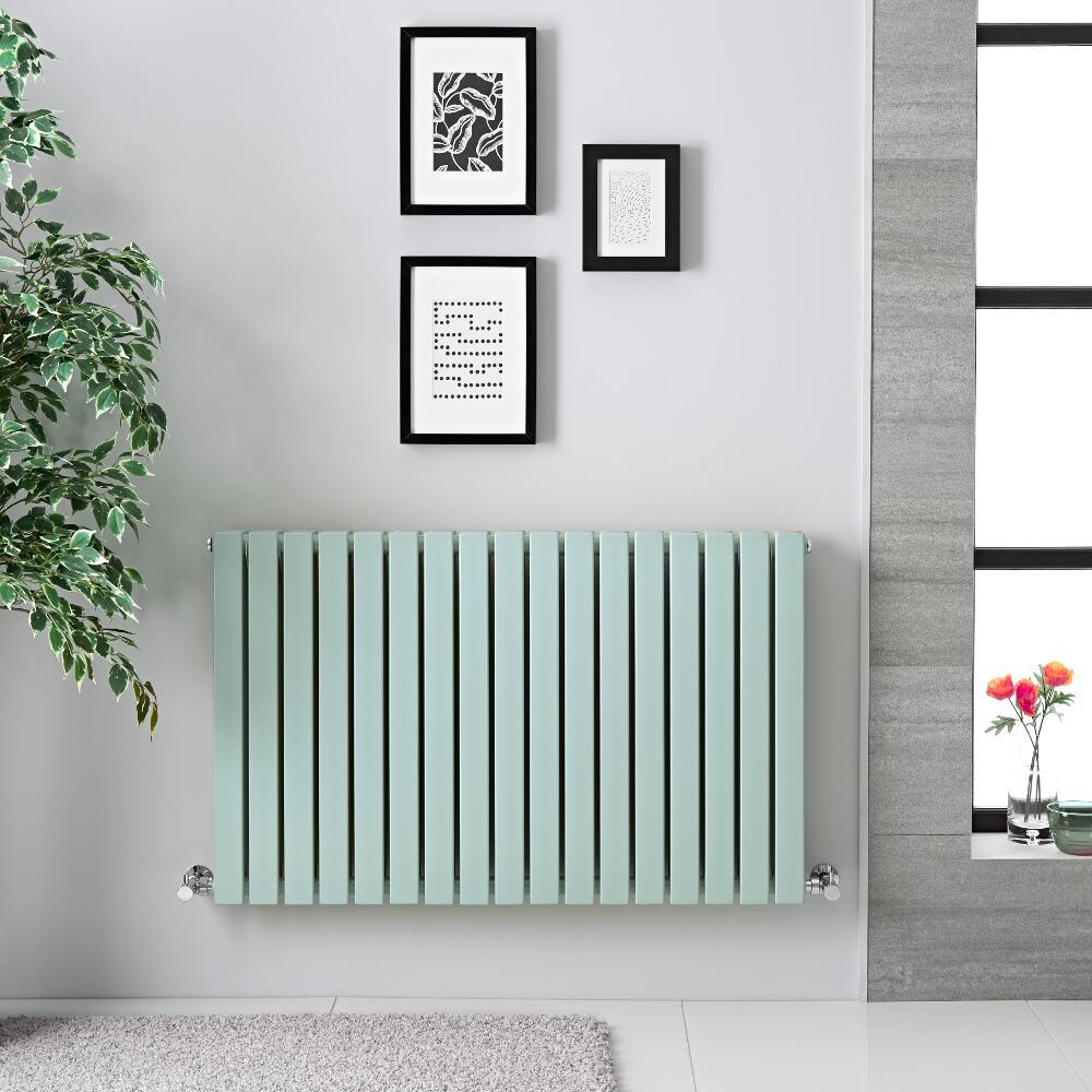"Sloane - Mint Green Double Flat Panel Horizontal Designer Radiator - 25"" x 39.5"""