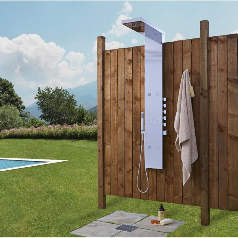 Outdoor Shower Panel with Body Jets and Handshower in Chrome Finish