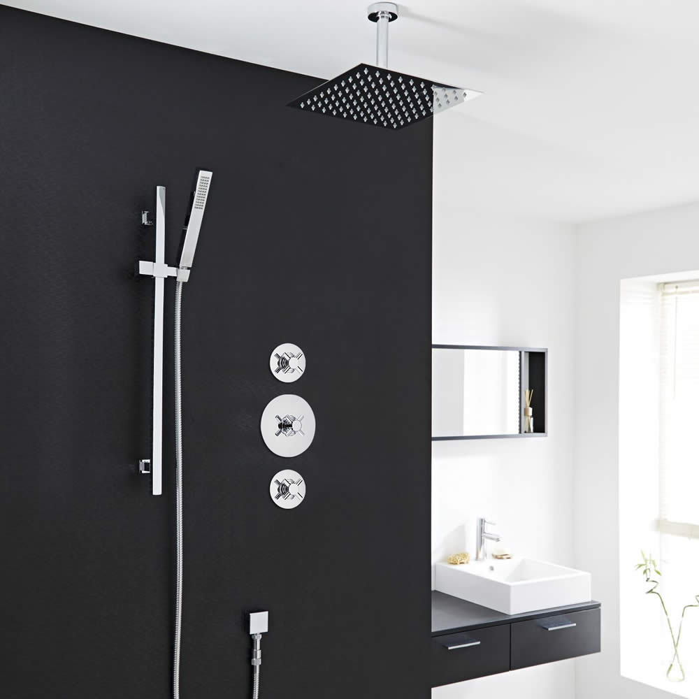 2 Outlet Shower System With 8 Square Head Hand Shut Off Valves