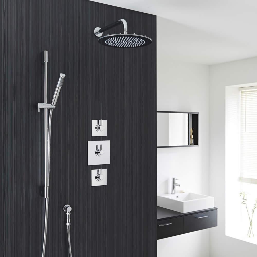 "Modern 2-Outlet Shower System with 8"" Round Head, Hand Shower & Shut-Off Valves"