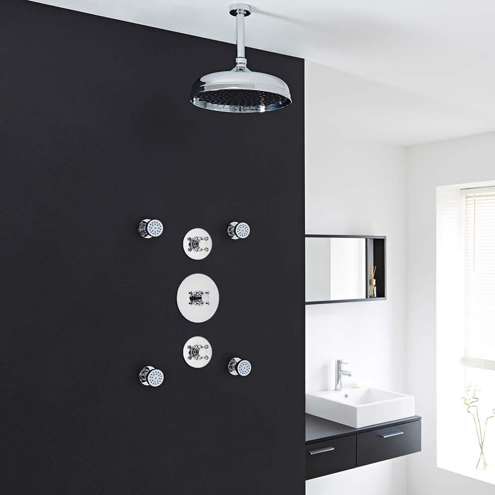 """Traditional 2-Outlet Shower System with 12"""" Apron Head, Body Jets & Shut-Off Valves"""