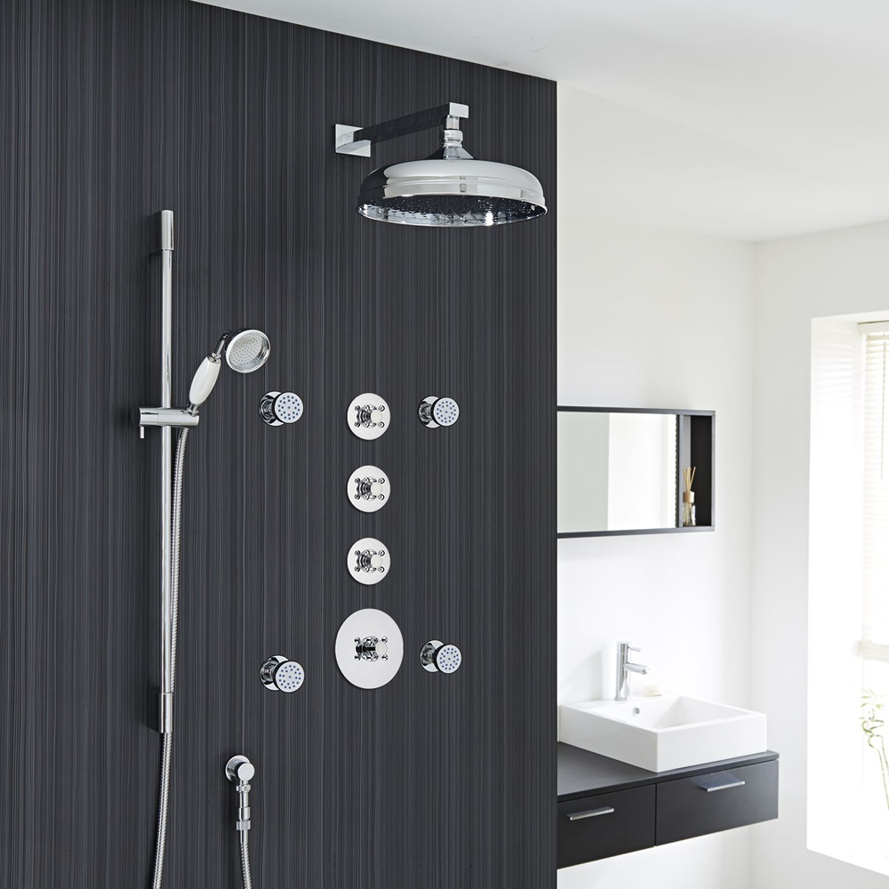 """Traditional Shower System with 12"""" Apron Head, Hand Shower, Body Jets & Shut-Off Valves"""