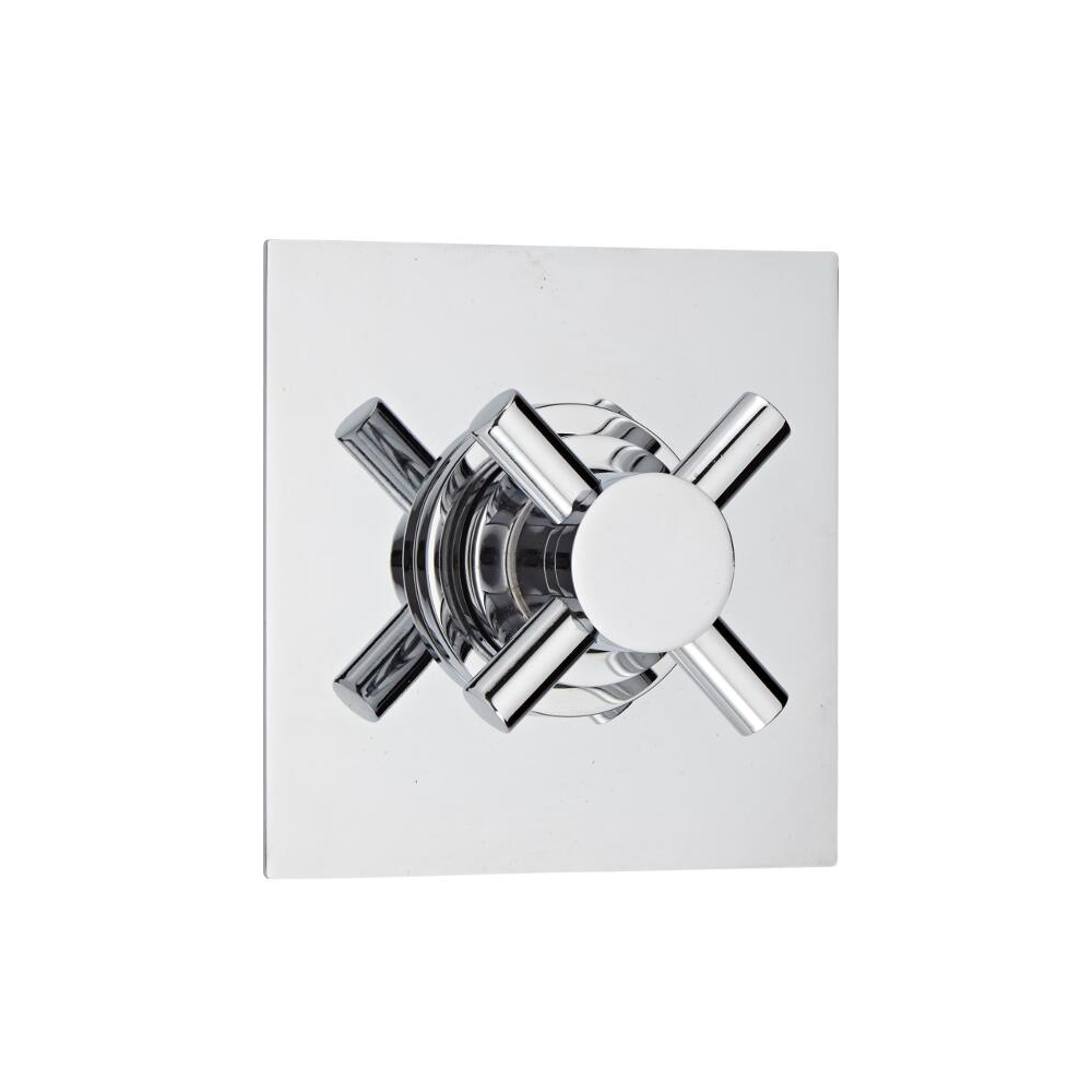 Shut-Off Shower Valve with Square Plate and Modern Crosshead Handle