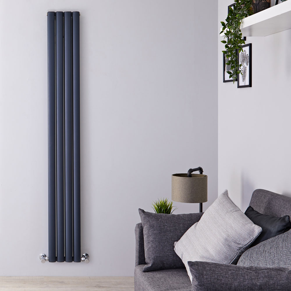 "Revive Air - Anthracite Aluminum Vertical Double-Panel Designer Radiator - 70.75"" x 9"""