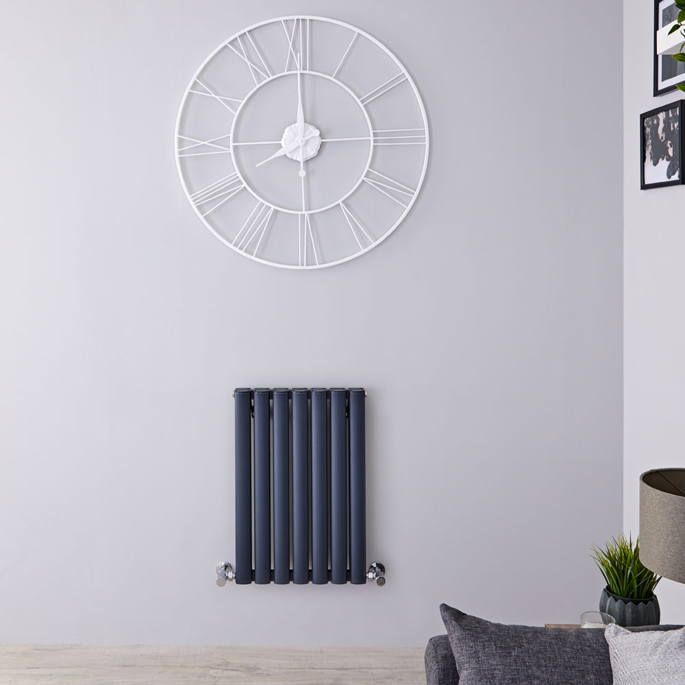"Revive Air - Anthracite Aluminum Horizontal Double-Panel Designer Radiator - 23.5"" x 16.25"""
