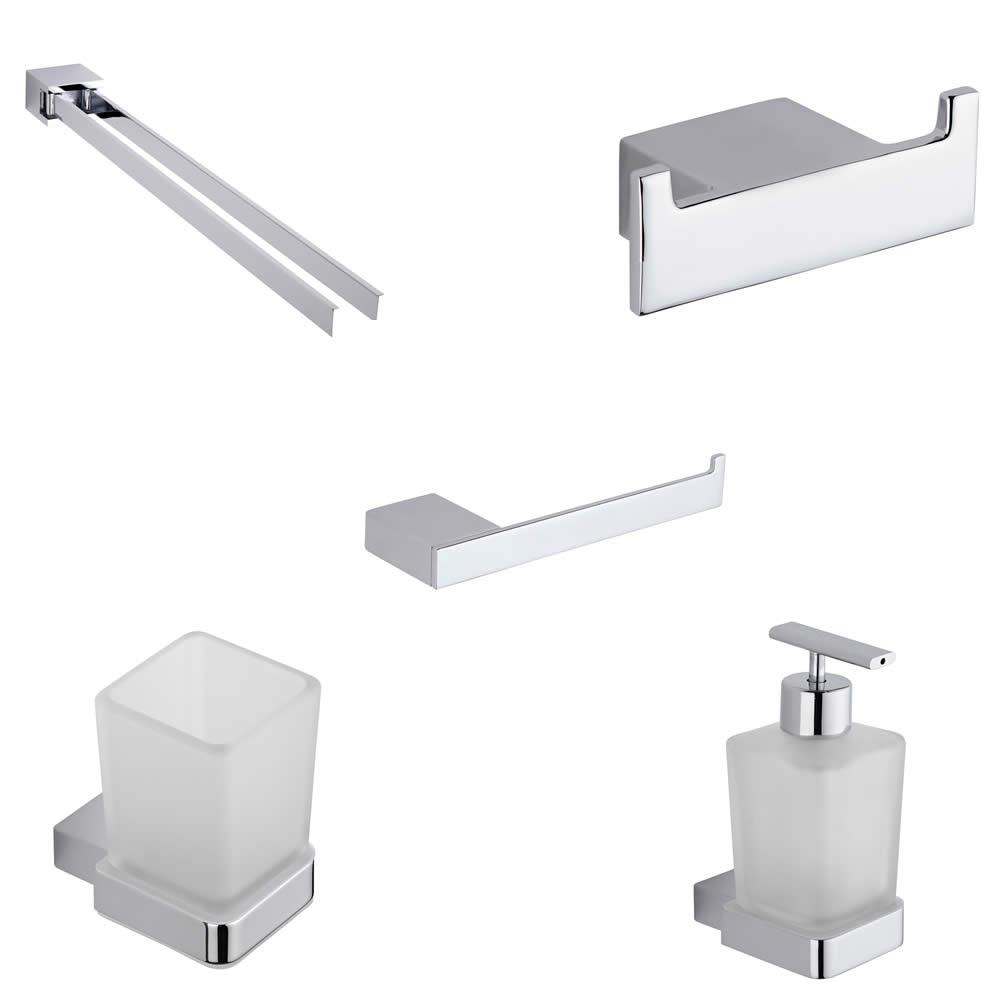 Parade Chrome Bathroom Accessory Bundle (5 Pieces)