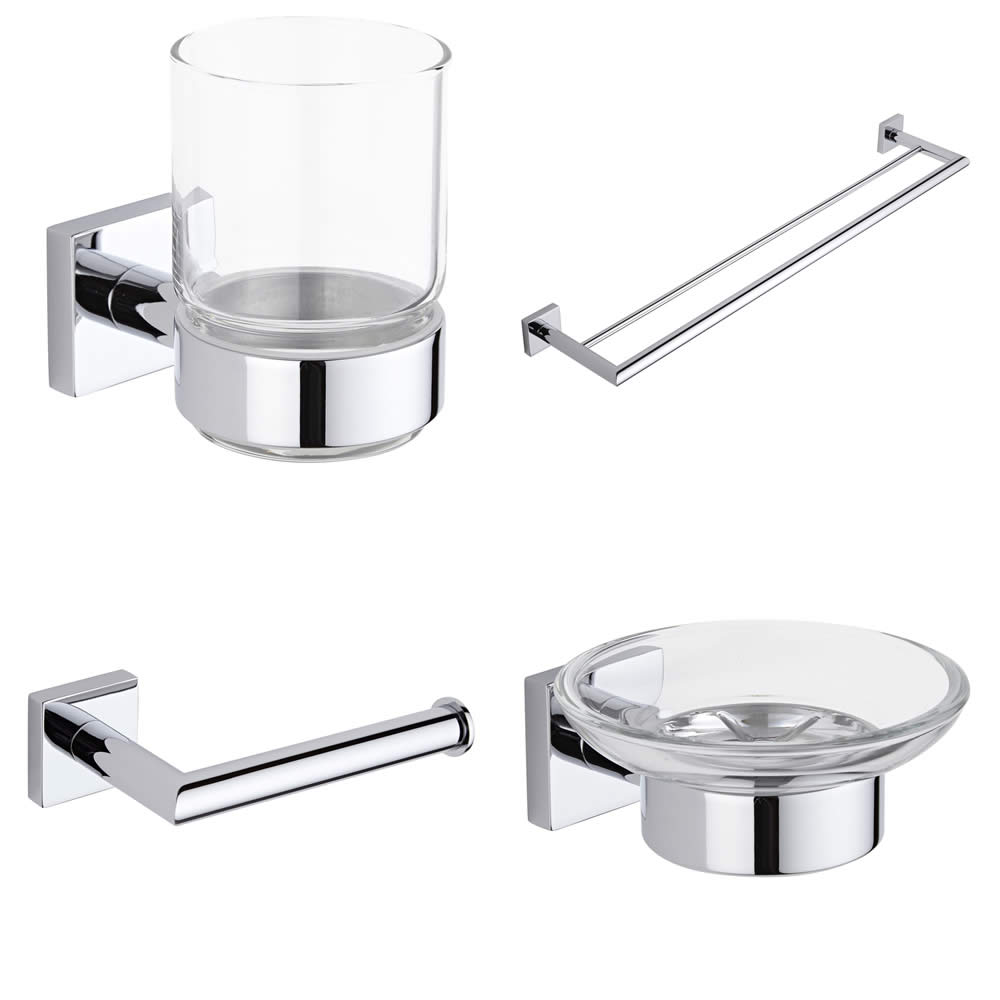 Liso Chrome Bathroom Accessory Set (4 Pieces)
