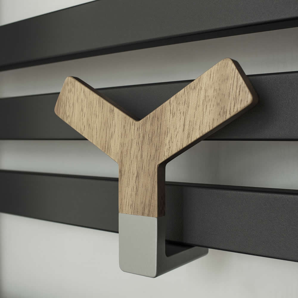 Y Wood Holder for Designer Radiators and Towel Warmers
