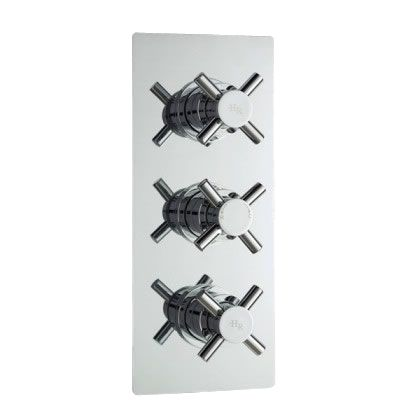 Kristal Concealed Thermostatic Triple Shower Faucet Valve 2 Outlet Options