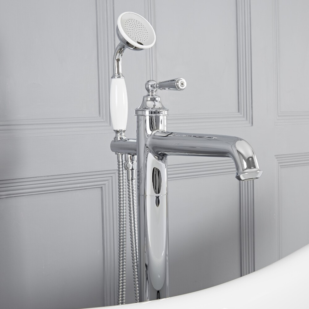 Colworth - Chrome Traditional Freestanding Tub Faucet with Hand Shower