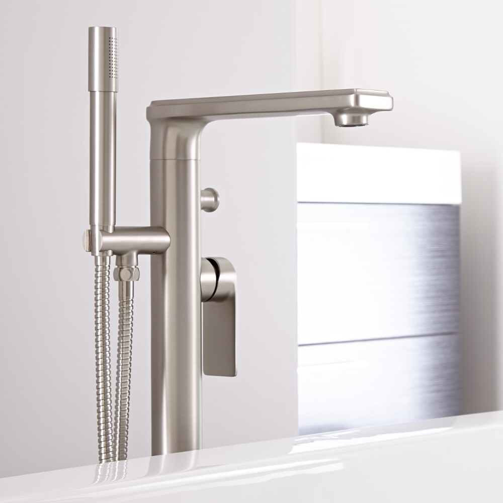Eclipse - Brushed Nickel Modern Freestanding Tub Faucet with Hand Shower