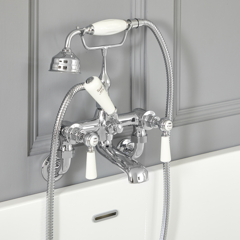 Elizabeth - Traditional Wall Mounted Lever Handle Tub Faucet with Telephone Style Hand Shower - Multiple Finishes Available