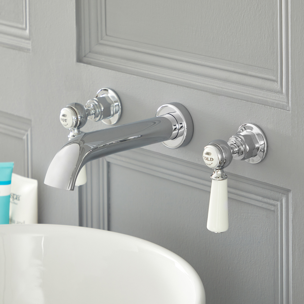 Elizabeth - Traditional Wall Mounted Lever Handle Widespread Bathroom Faucet - Multiple Finishes Available