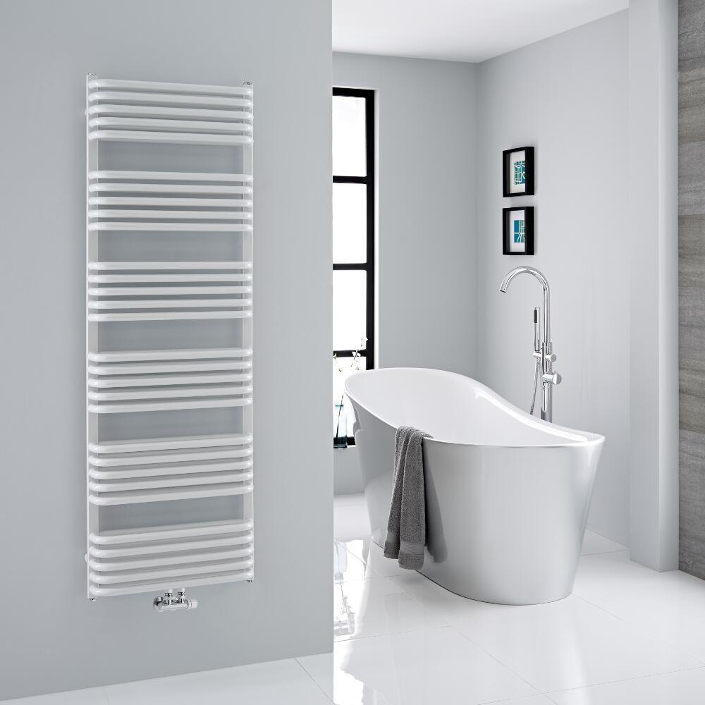 Heated towel rails radiator bath bathroom heater white colour straight or curved
