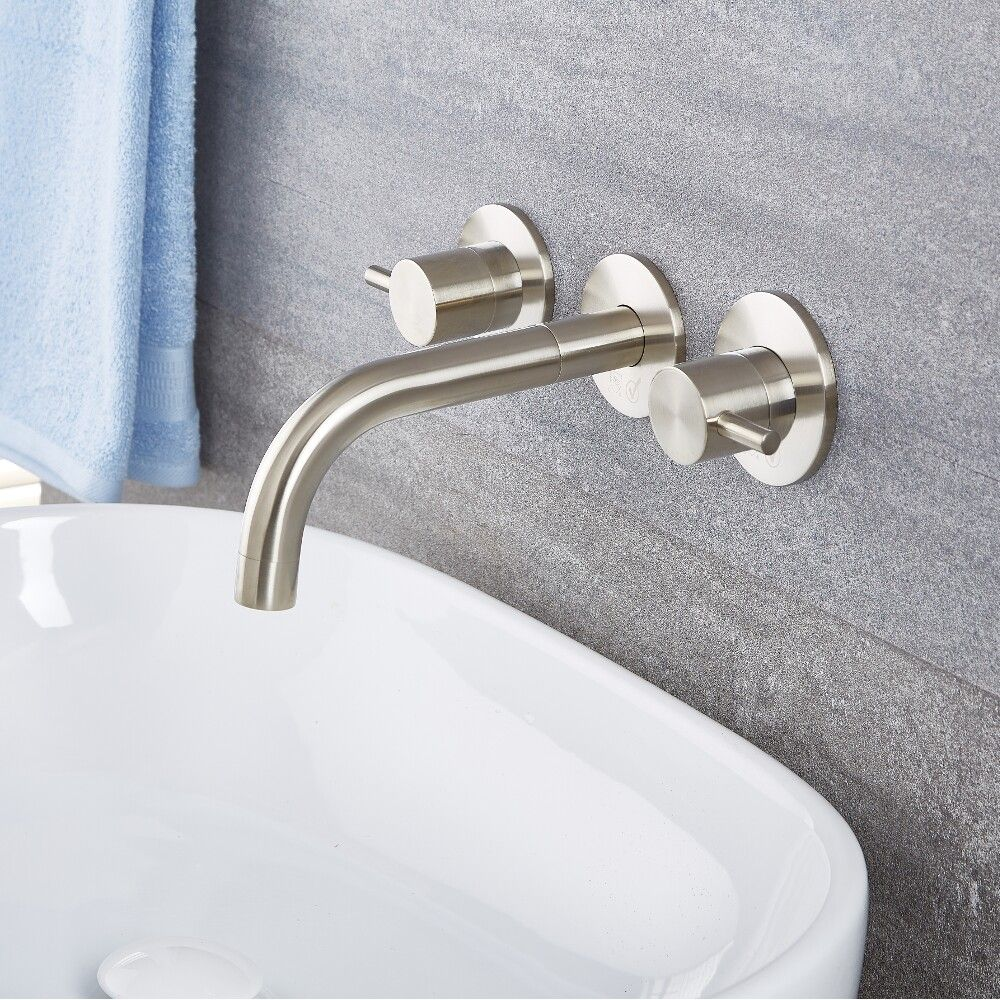 Quest Brushed Nickel Wall Mounted Bathroom Faucet