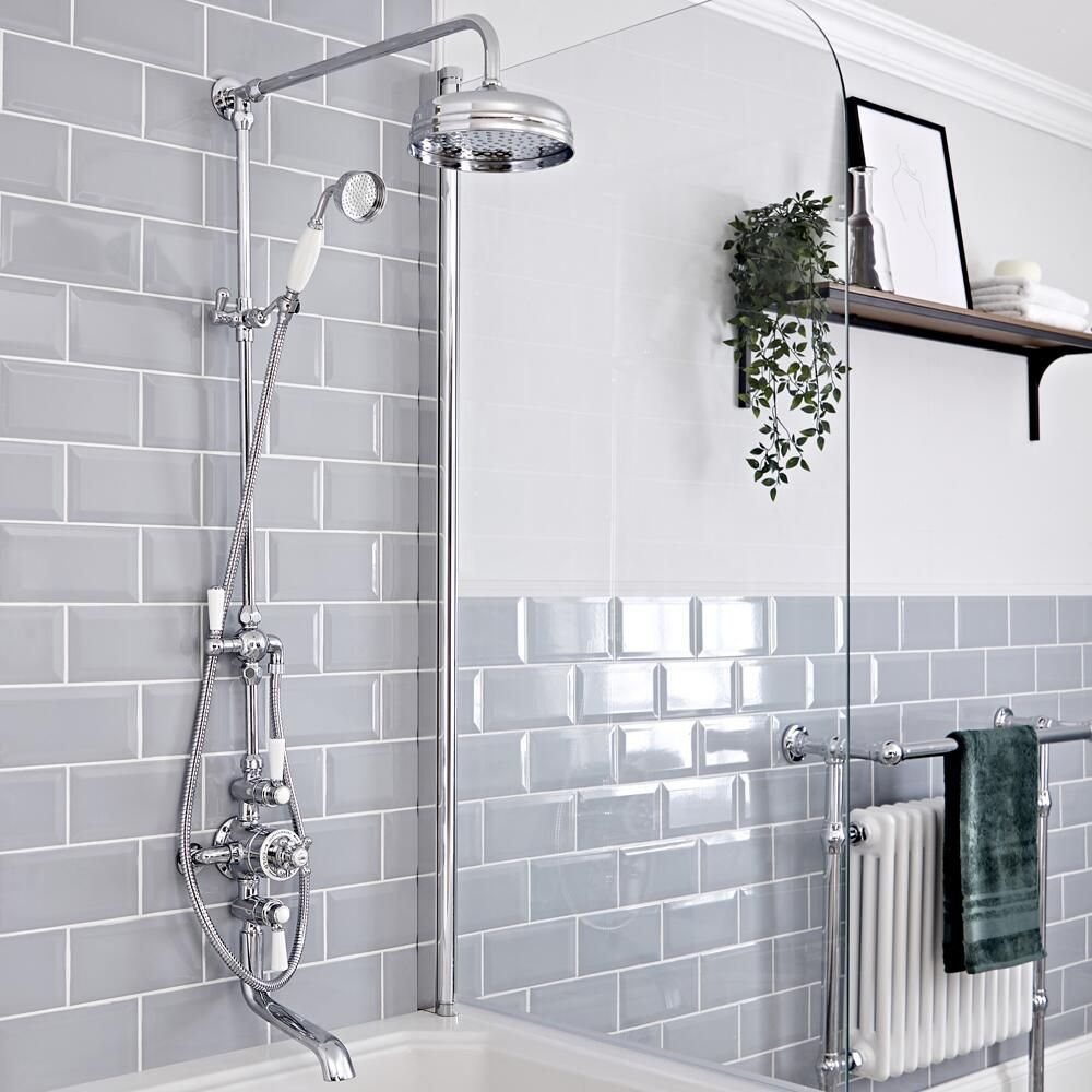 Elizabeth Traditional Exposed Thermostatic Chrome Shower System With Apron Head Grand Rigid Riser And Tub Spout