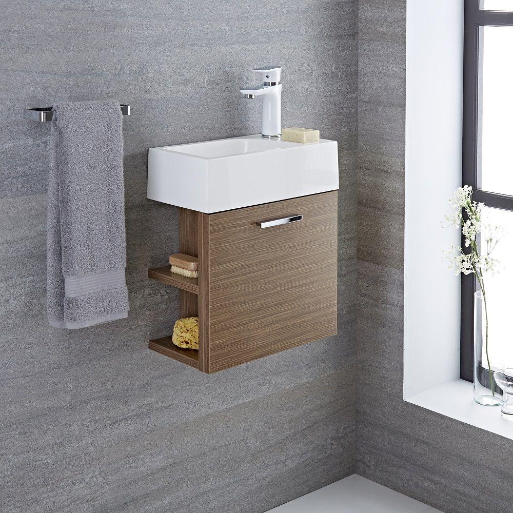 Langley 16 Oak Wall Mount Bathroom Vanity