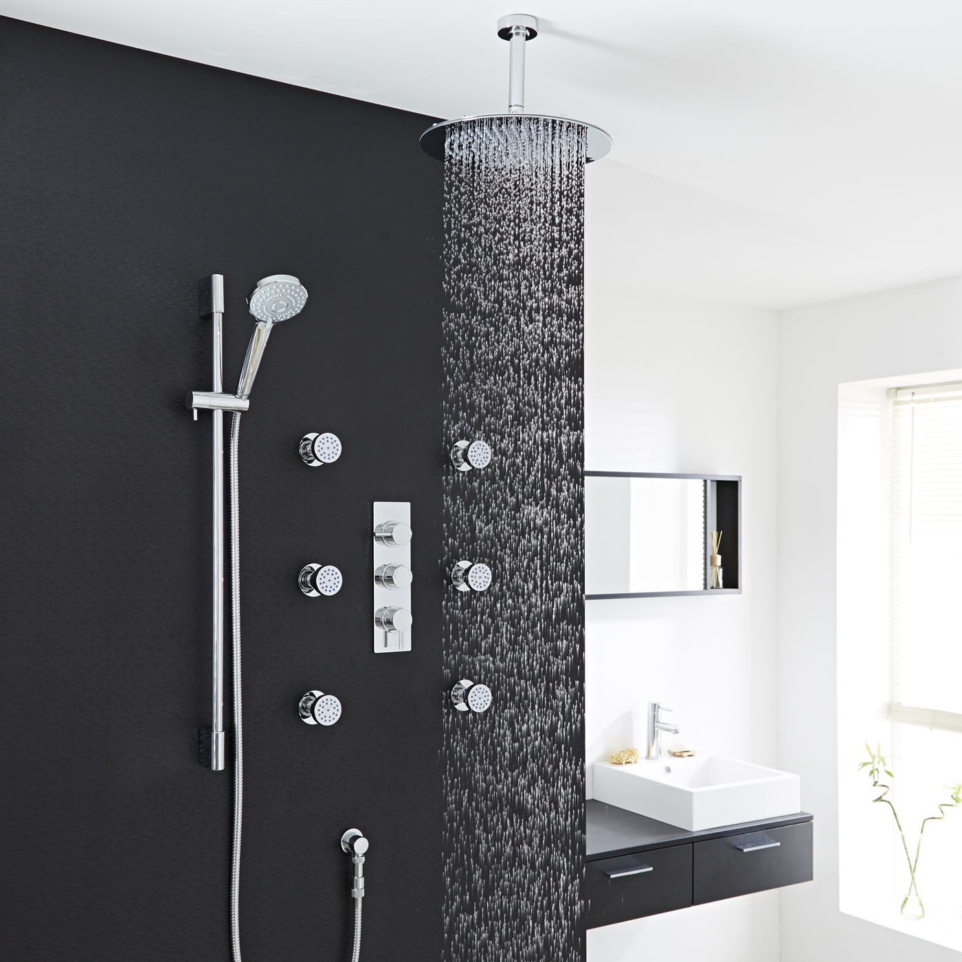 Thermostatic Shower System With Multi Function Hand 6 Body Jets