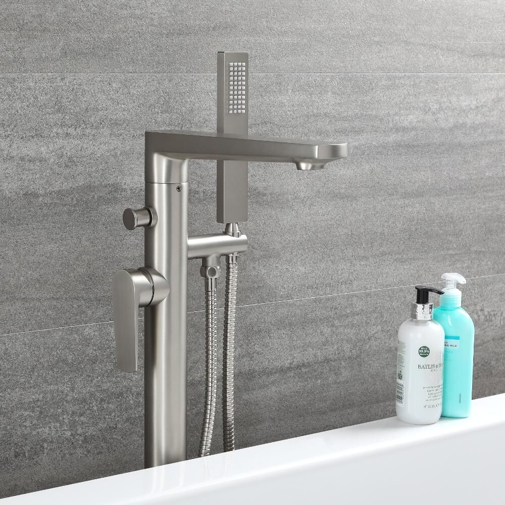 Arcadia Brushed Nickel Freestanding Tub Faucet With Hand Shower
