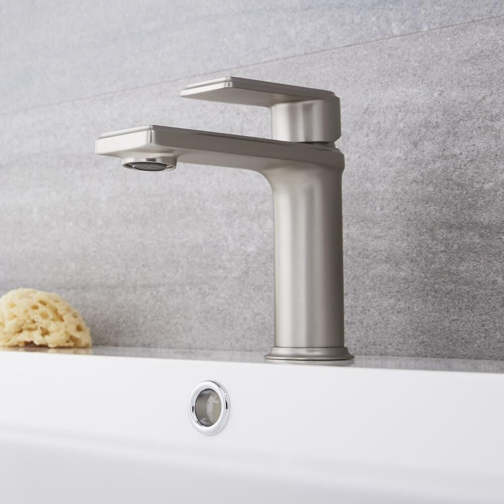 Bathroom Faucets.Eclipse Brushed Nickel Single Hole Bathroom Faucet