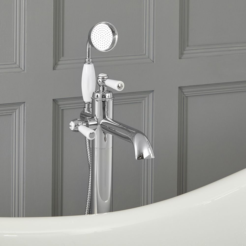 Elizabeth Traditional Freestanding Tub Faucet With Hand Shower Chrome White