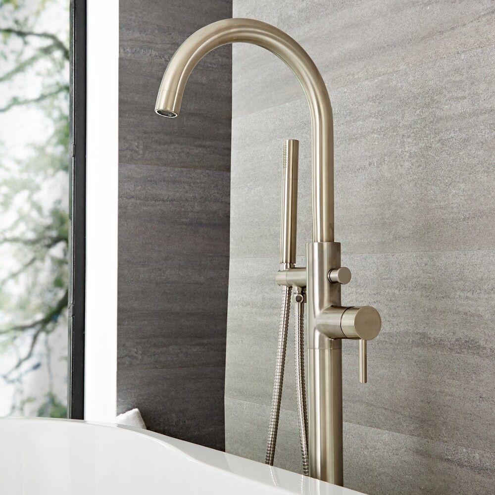 Freestanding Tub Filler Brushed Nickel.Quest Brushed Nickel Freestanding Tub Faucet With Hand Shower