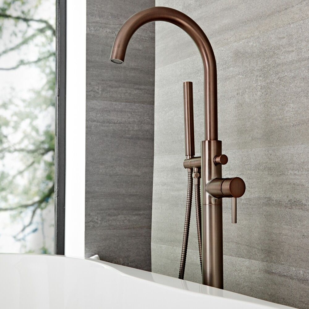 Quest Oil Rubbed Bronze Freestanding Tub Faucet With Hand Shower