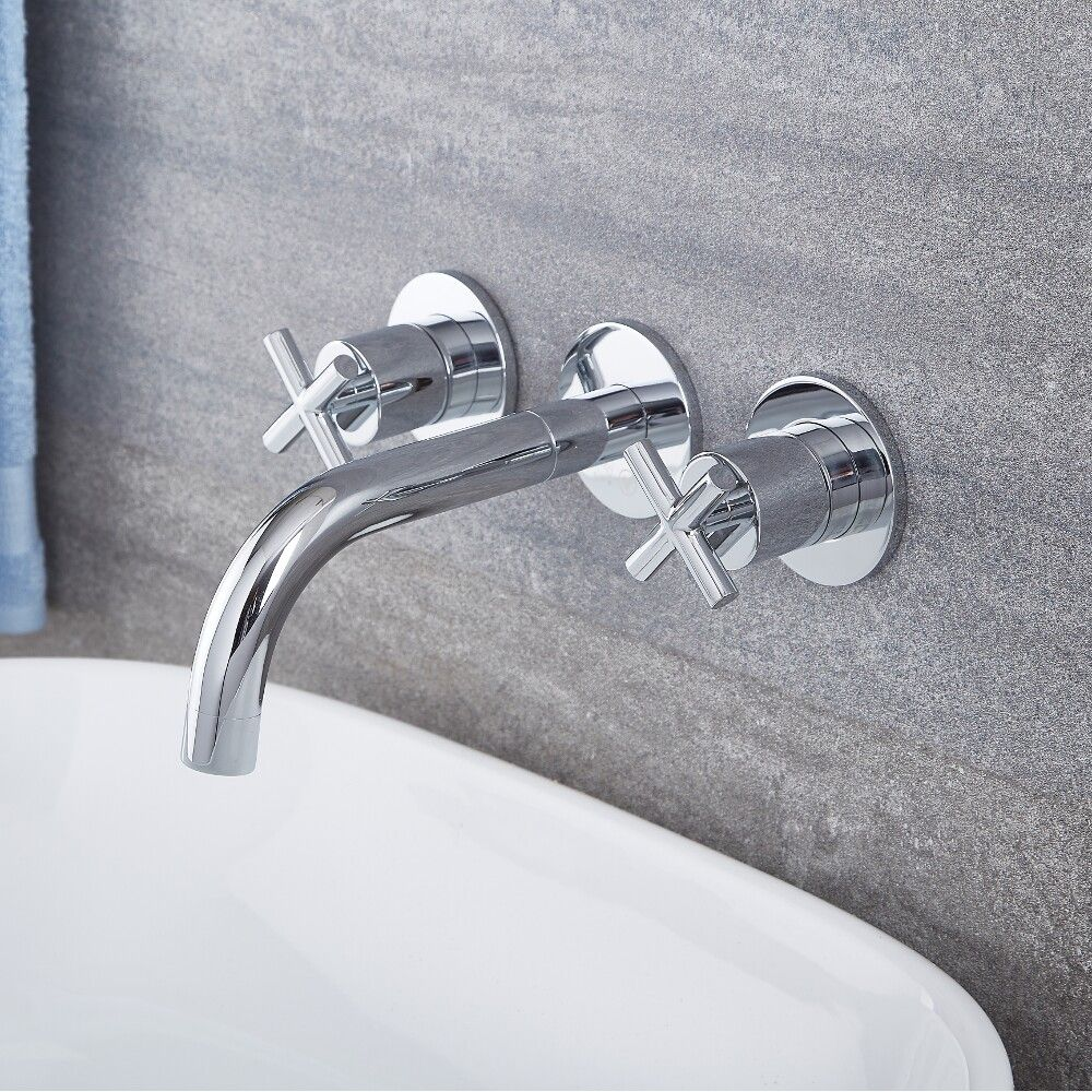 Tec Chrome Widespread Wall Mounted Bathroom Faucet