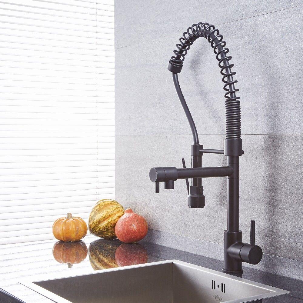 Quest - Black Kitchen Faucet with Spring Spout and Pot filler