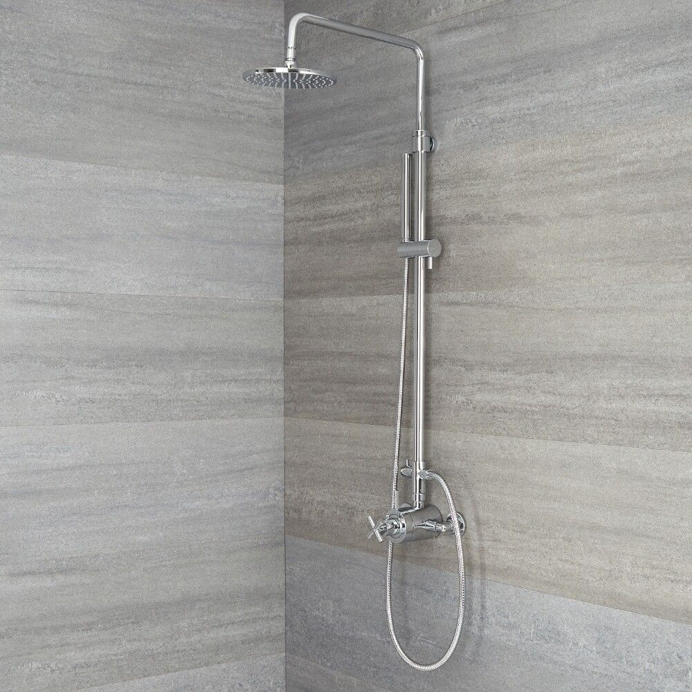 Exposed Pipe Shower System With Tub Faucet.Tec Exposed Pipe Shower System Available In Multiple Finishes