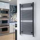 "Loa - Hydronic Anthracite Flat Heated Towel Warmer - 47.25"" x 23.5"""