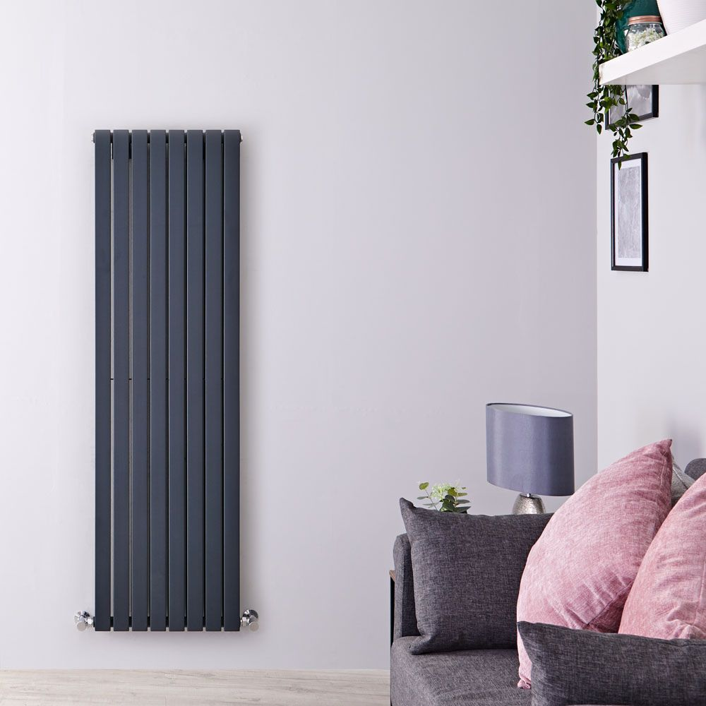 Design Radiator Verticaal.Sloane Anthracite Vertical Double Flat Panel Designer Radiator 63 X 18 5