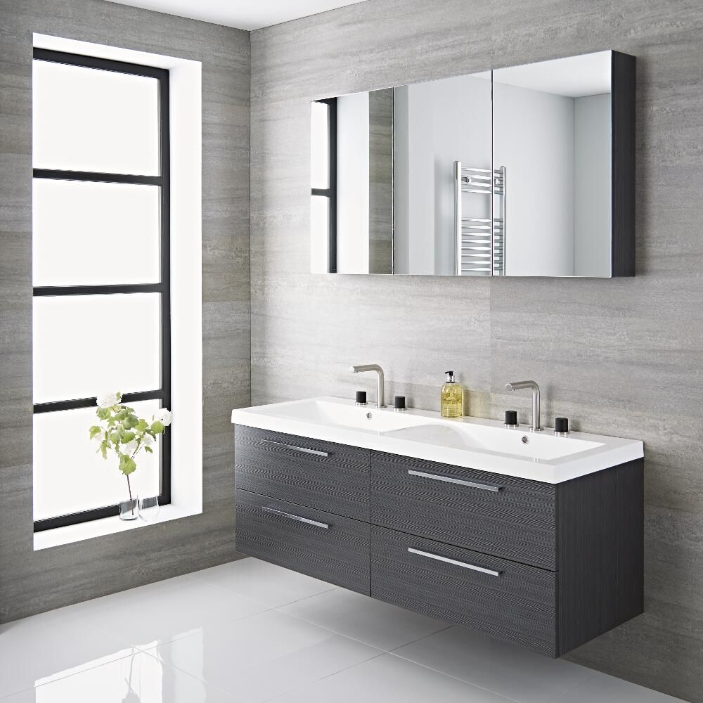 Langley 55 Gray Double Wall Mount Bathroom Vanity