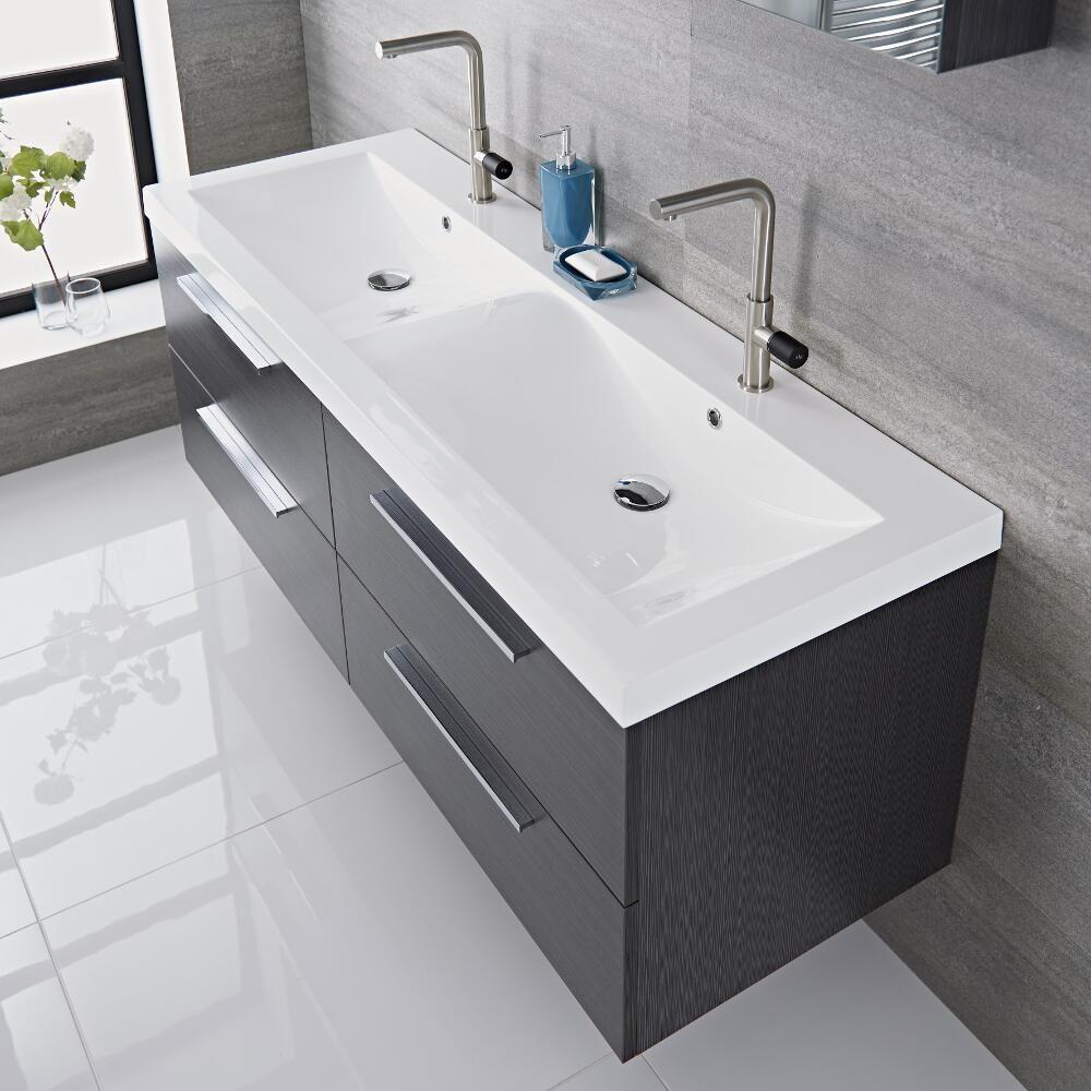 Langley 55 Gray Double Wall Mount Bathroom Vanity