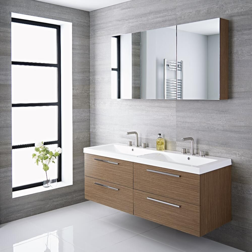 Wall Mount Bathroom Vanity | Langley 55 Oak Double Wall Mount Bathroom Vanity