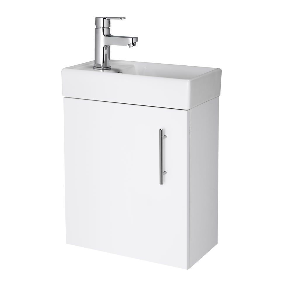 White Small Wall Mount Vanity Vessel Sink 16