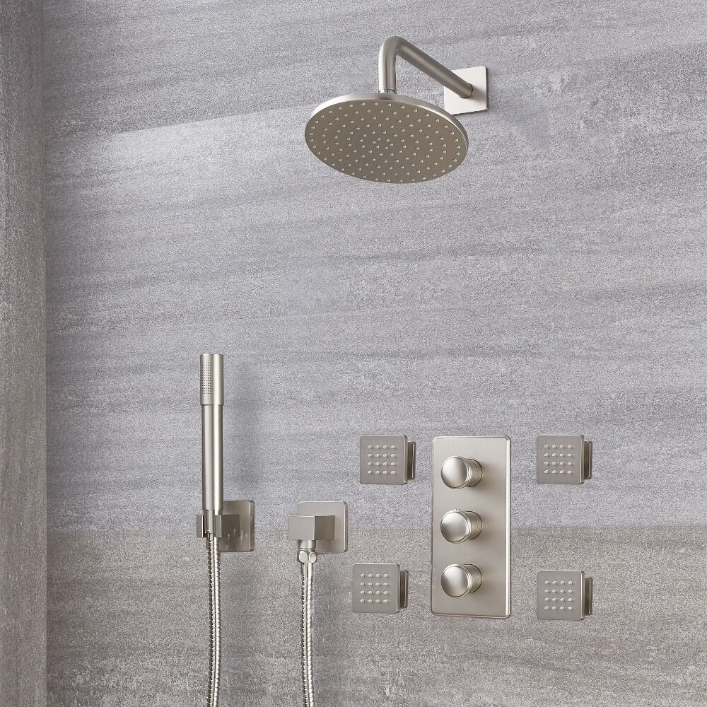 Eclipse Thermostatic Brushed Nickel Shower System With 8 Head Handshower And 4 Body Sprays