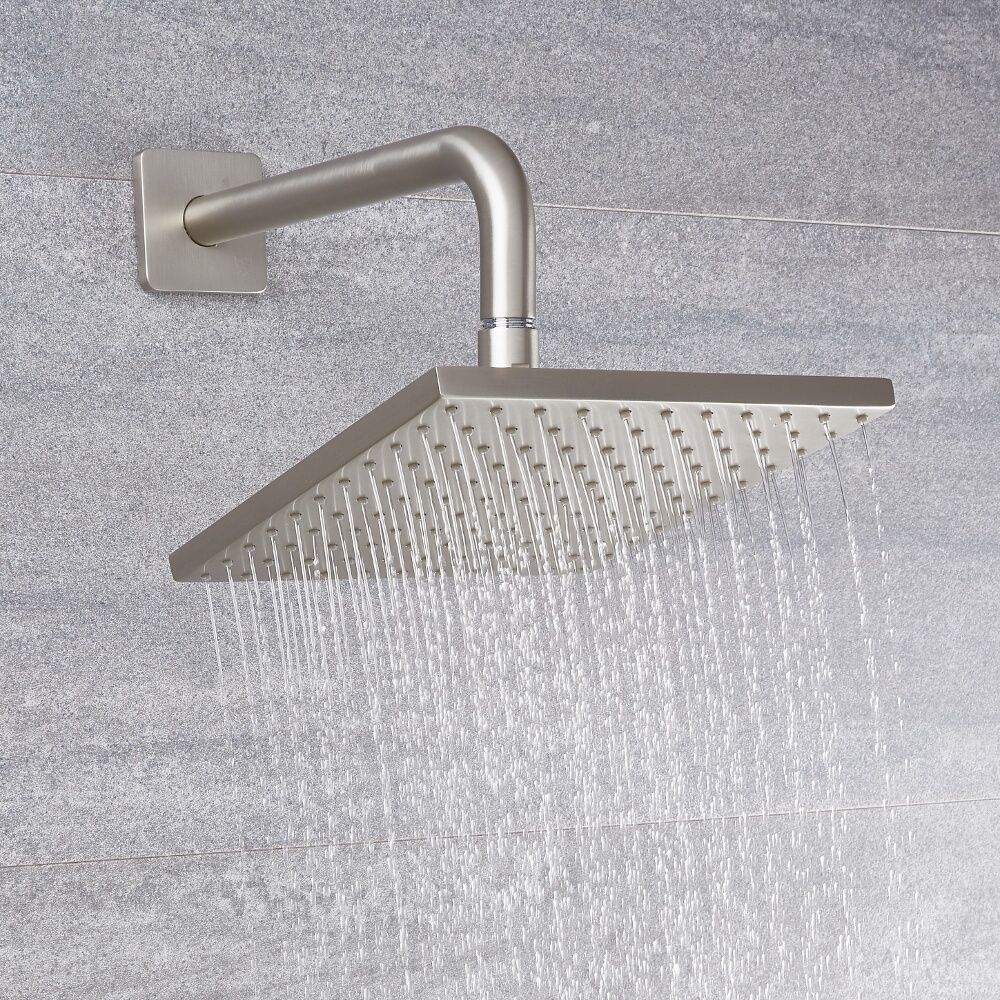 Arcadia 8 Quot Brushed Nickel Square Shower Head With Wall Arm
