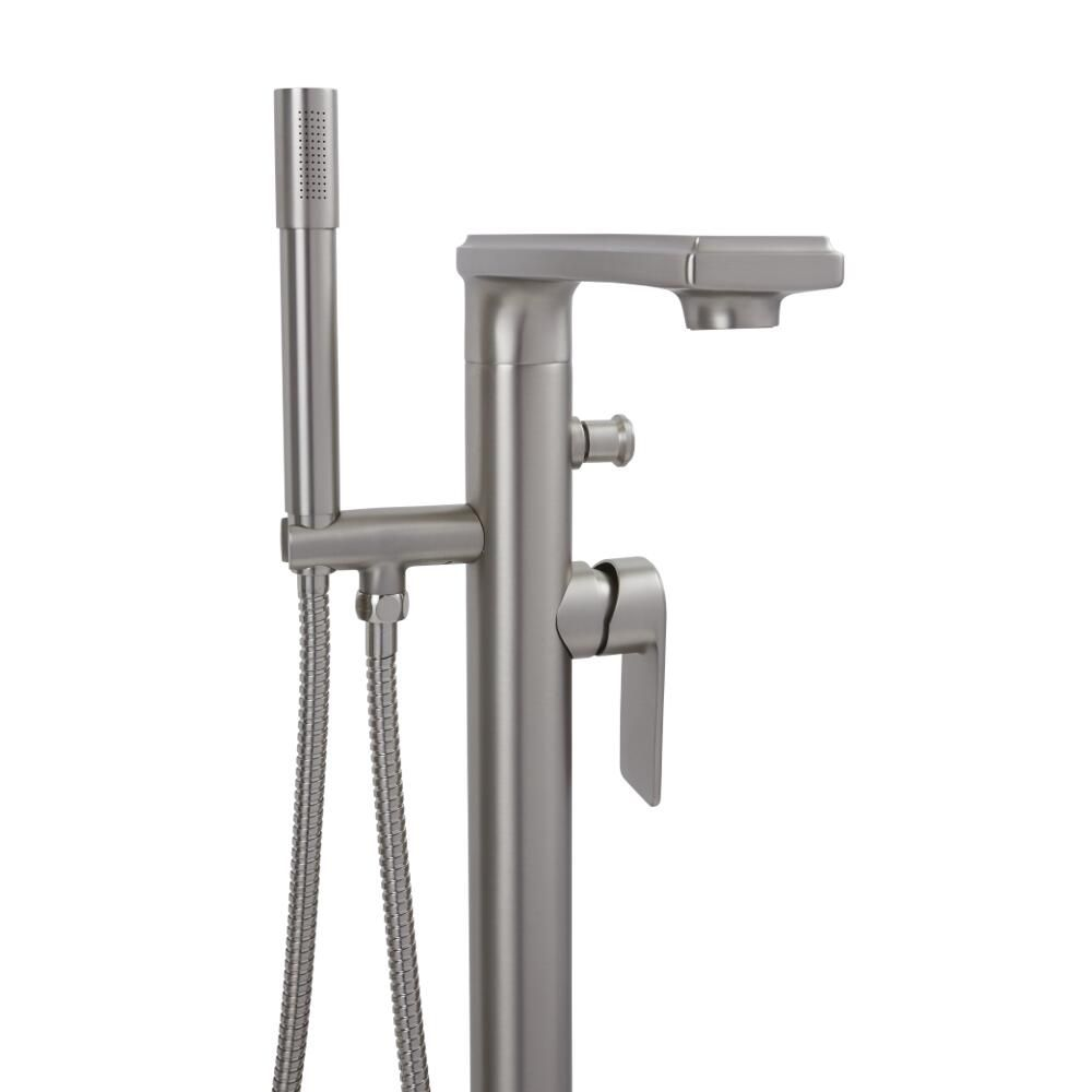 Brushed Nickel Modern Freestanding Tub Faucet With Hand Shower