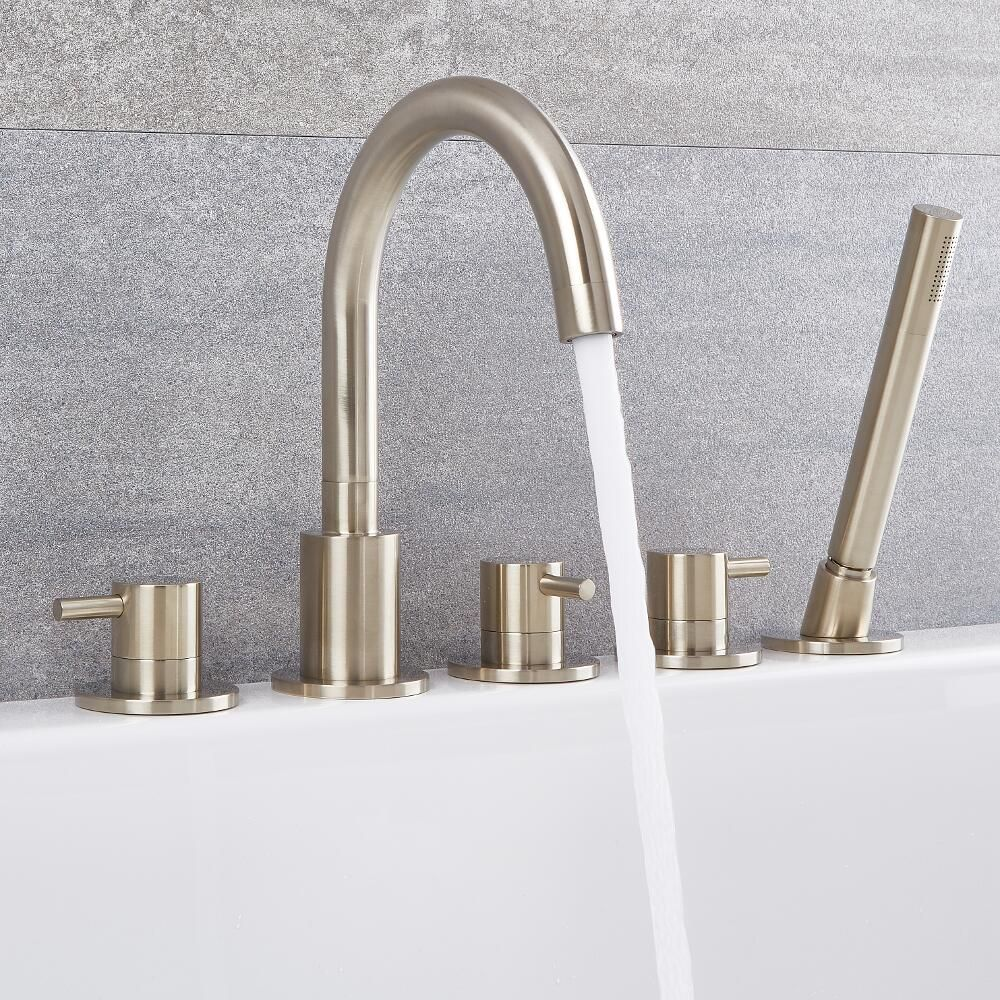 Quest Brushed Nickel Roman Tub Faucet With Hand Shower