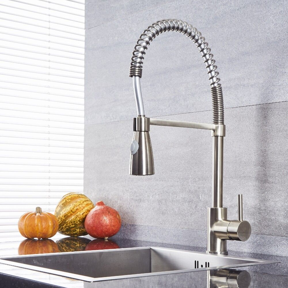 Quest - Brushed Nickel Kitchen Faucet with Spring Spout