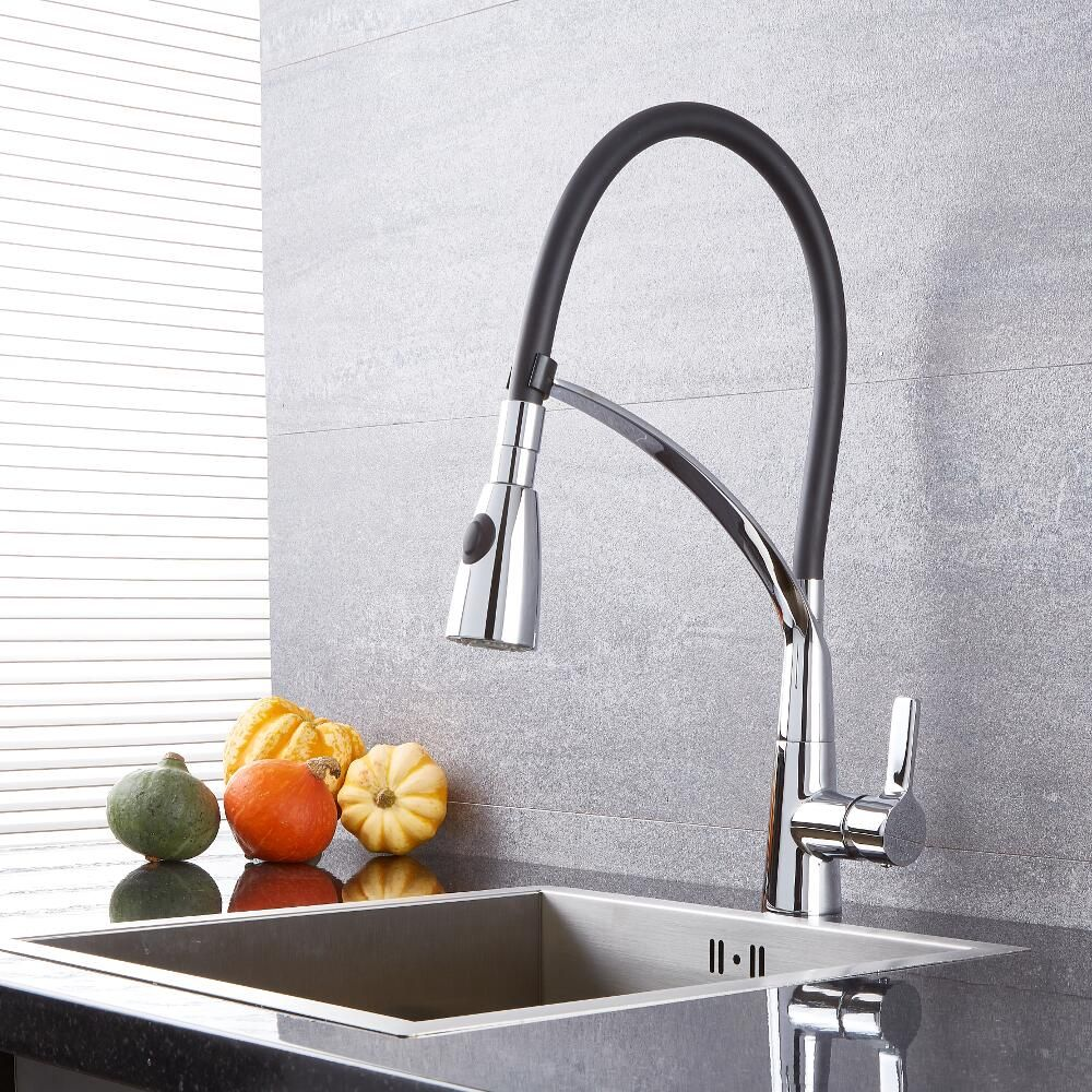 Quest Black And Chrome Pull Down Kitchen Faucet