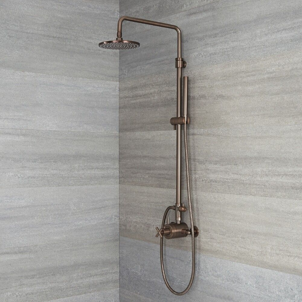 exposed pipe shower .  Tec Oil Rubbed Bronze Exposed Pipe Shower System