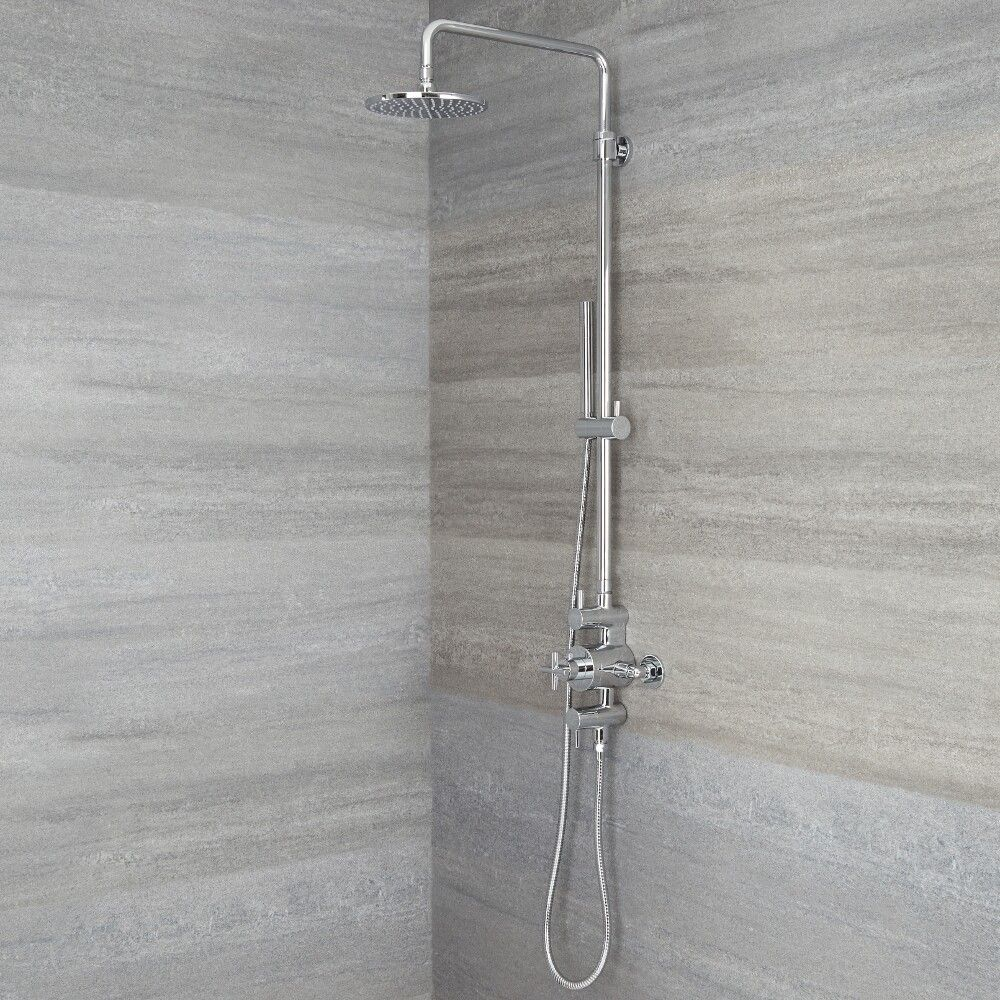 exposed pipe shower .  Tec Chrome Exposed Pipe Shower Column