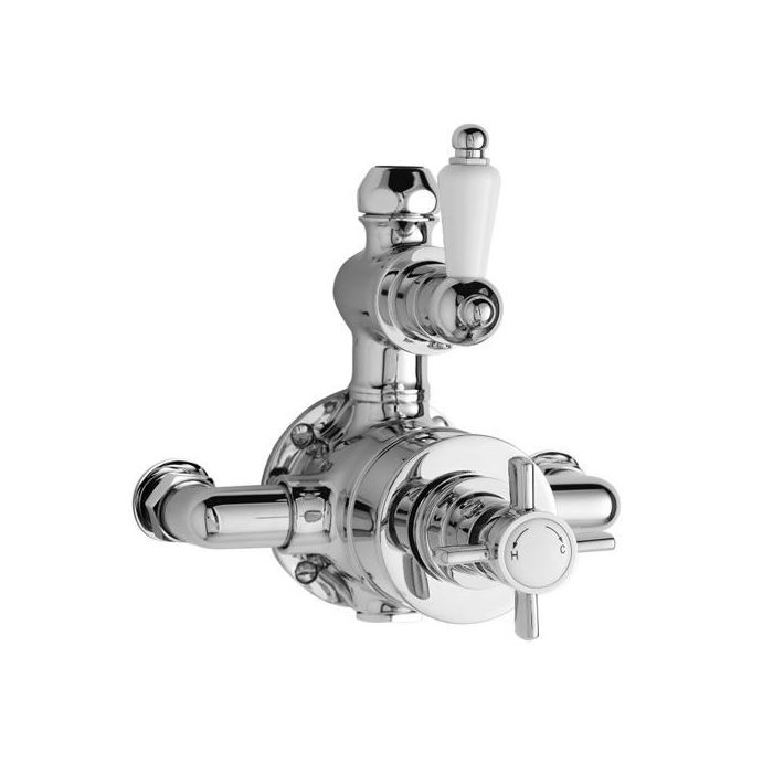 Traditional Twin Exposed Thermostatic Bathroom Shower Faucet Valve