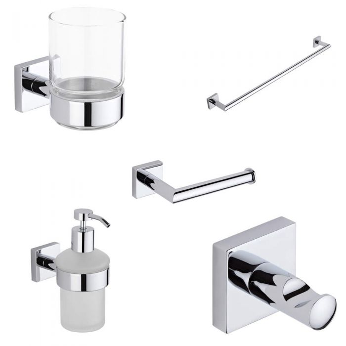Liso Chrome 5-Piece Bathroom Accessory Set