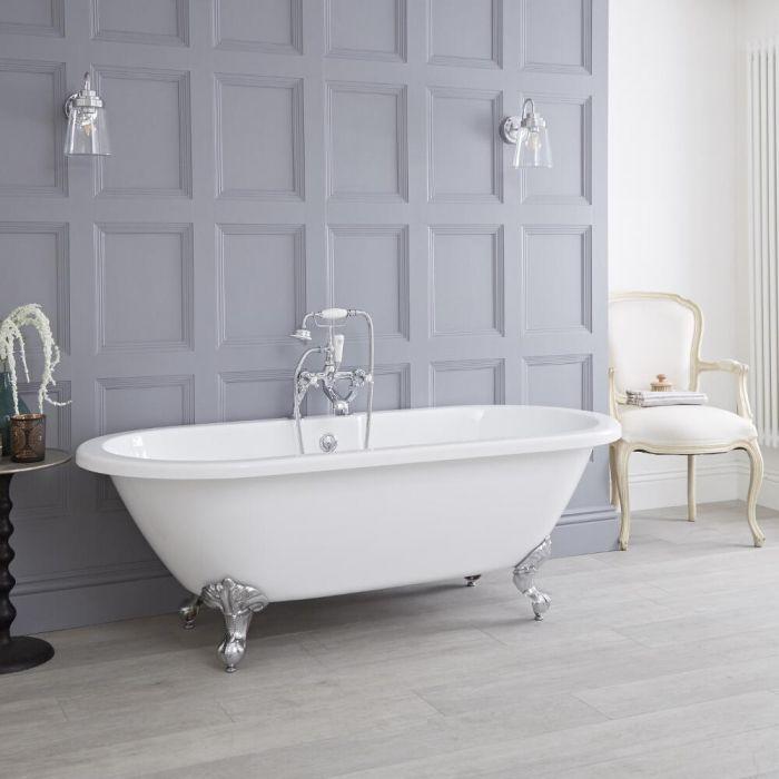"Acrylic Double Ended Freestanding Flat Top Bath Tub 70"""