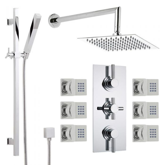 Thermostatic Shower System With Extended Arm Slide Rail Kit 6