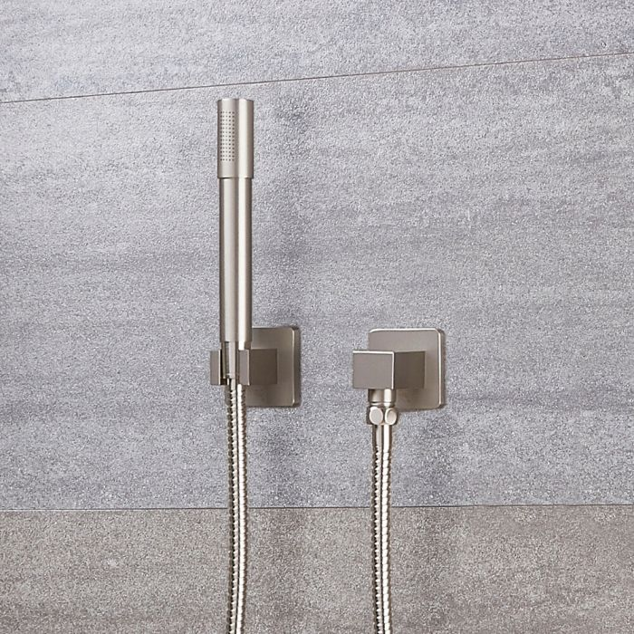 Eclipse Round Brushed Nickel Shower Kit with Integrated Outlet Elbow and Parking Bracket